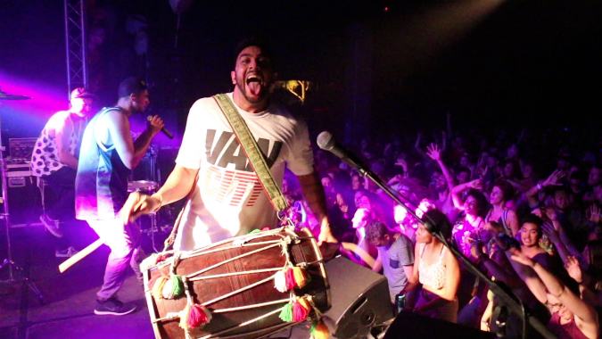 Delhi 2 Dublin live on stage with drum