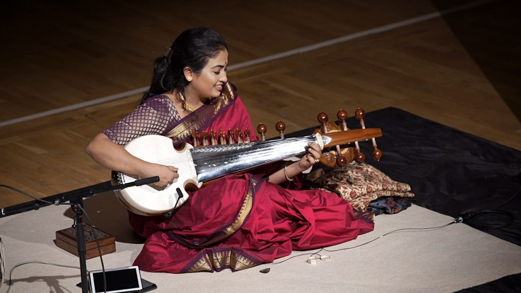 Debasmita Bhattacharya performing sarod image
