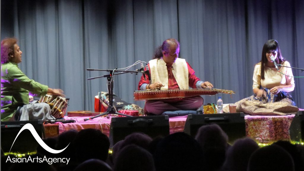 Debashish Bhattacharya Trio on the Glastonbury Town Hall Stage