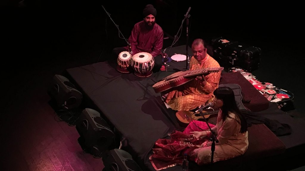 Debashish Bhattacharya, Anandi Bhattacharya and Gurdain performing at Arnolfini Bristol