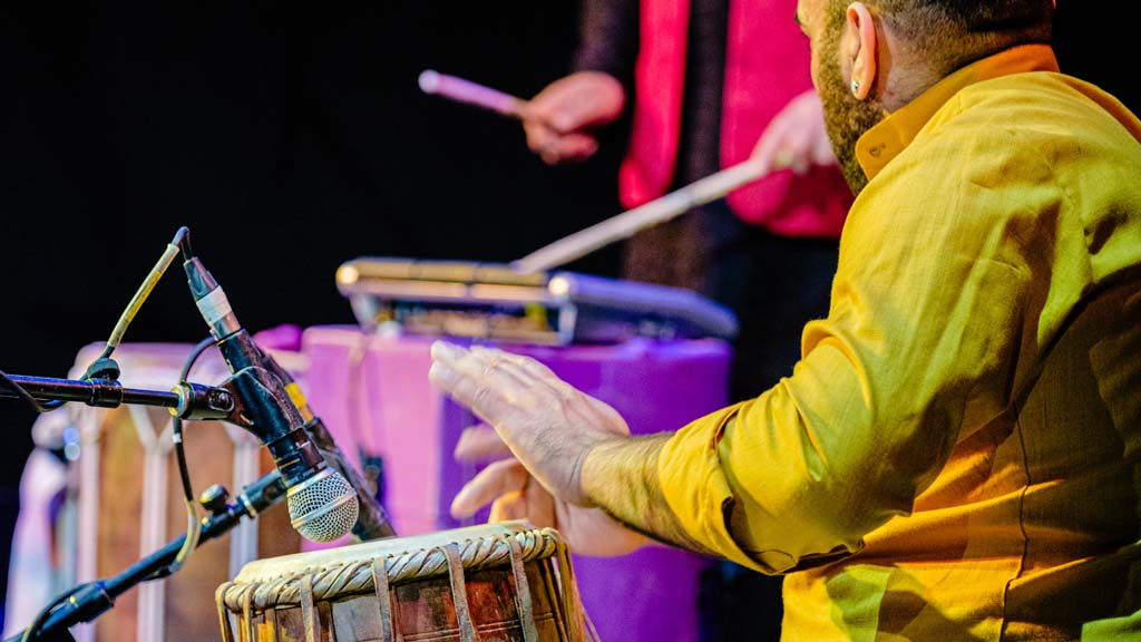 Teaching Bursary Image. Live performance shot with tabla and drums.